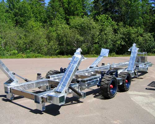 Custom made yacht shunt trailer, used for removing yachts from water and moving them around.