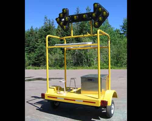 Arrow board trailer for traffic control.