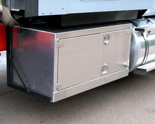 Aluminum storage boxes.